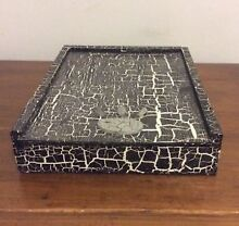 Handmade Wooden Storage Box, Black & White, Silver Paw Print Rhodes Canada Bay Area Preview