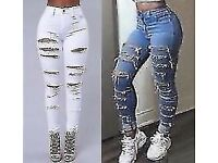 Ladies Ripped Skinny Jeans Style Jeggings Pants Trousers Mid High Waisted