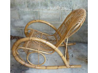 1960's Bamboo Rattan Rocking Chair Vintage