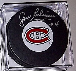 JEAN BELIVEAU SIGNED MONTREAL CANADIENS PUCK w/ COA mint cond.