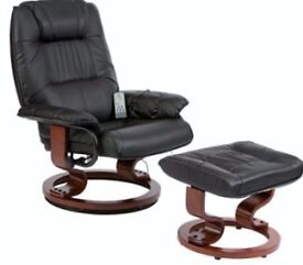 RESTWELL NAPOLI SWIVEL RECLINER CHAIR AND FOOTSTOOL WITH HEAT AND MASSAGE IN BLACK