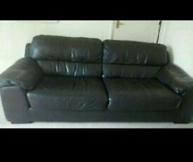 Furniture village large 3 seater leather sofa