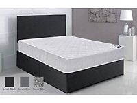 BRAND NEW KING SIZE DIVAN BED BASE WITH WHITE ORTHOPEDIC MATTRESS