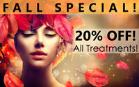 **FALL SPECIAL - 20% OFF ALL LASER & BODY TREATMENTS**