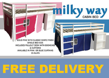 Brand New Kids SINGLE Midi Bed with Pull out Desk FREE DELIVERY