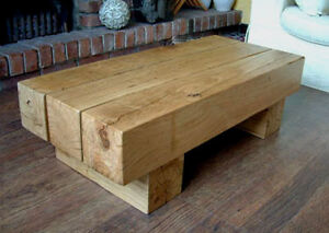 Industrial style barn beam coffee table
