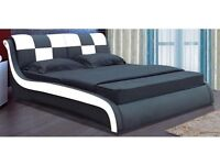 Double Bed - Designer Italian Faux Leather Black white bed frame