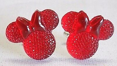 Handmade, Disney Red Minnie Mouse Resin Cufflinks, Silver Plated Toggles](Red Minnie Mouse Plates)
