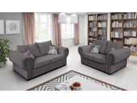 BRAND NEW VERONA/BARON 3+2 OR CORNER GRAPHITE FABRIC LINEN SCATTER BACK SOFA NOW ON SALE !