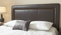 King Size Bristol Brown Bonded Leather Headboard, Like new