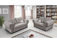 BRAND NEW VERONA/BARON 3+2 OR CORNER SILVER FABRIC LINEN FULL BACK SOFA NOW ON SALE !