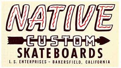 """Native Skateboards""  Skating  Vintage Looking  1960's  Travel Decal Sticker"