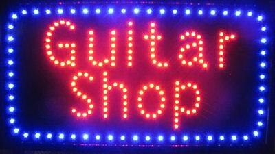 Jumbo 13 X 24 Guitar Shop Neon Store Sign Led Blinking Blue Border