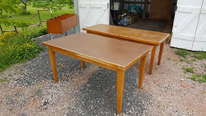 2 large wooden tables