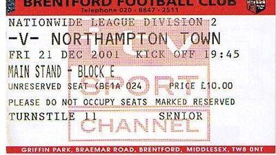Ticket - Brentford v Northampton Town 21.12.2001