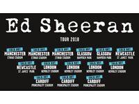 4x Ed Sheeran pitch standing tickets, Etihad Stadium Manchester, Friday 25th May 2018