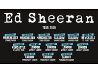 4x Ed Sheeran pitch standing tickets, Etihad Stadium Manchester, Friday 25th May 2018