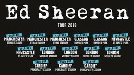 **FACE VALUE** 4x Ed Sheeran pitch standing tickets, Etihad Stadium Manchester, Friday 25th May 2018