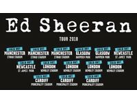 4x Ed Sheeran pitch standing tickets, Etihad Stadium Manchester, Saturday 26th May 2018