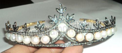 8.17cts ROSE CUT DIAMOND PEARL VICTORIAN LOOK SILVER TIARA
