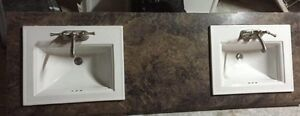 Washroom sink, faucet and counter