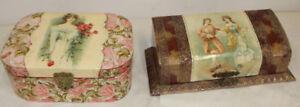 Pair Beautiful Victorian Dresser Vanity Boxes Bakelite Jewelry