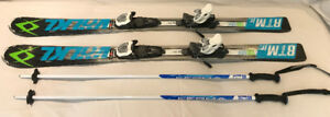 VOLKL  RTM 130 Junior Skiis with 4.5 Bindings and Poles