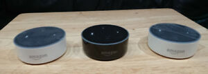 3 x Amazon Echo Dots (2nd Gen, B, B, W)