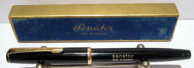 "VINTAGE BAKELITE LUXURY GERMAN FOUNTAIN PEN ""SENATOR"" WITH 14K NIB AND BOX # 501"