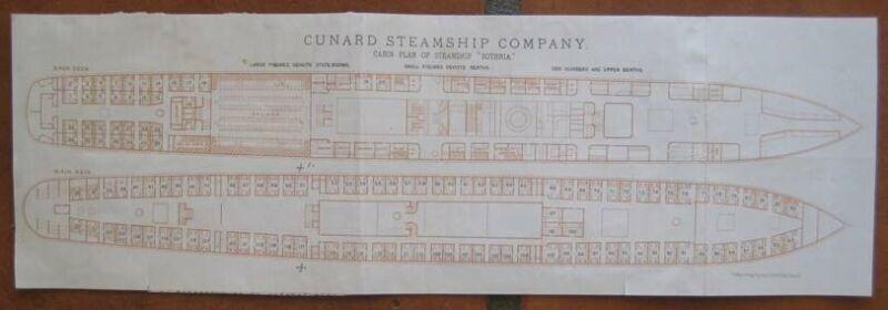 BOTHNIA (Cunard) c1880s DECK PLAN