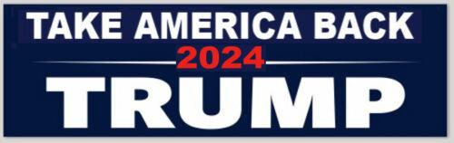 Take Back America Donald Trump 2024 President 2.5x8 Navy Vinyl Bumper Sticker