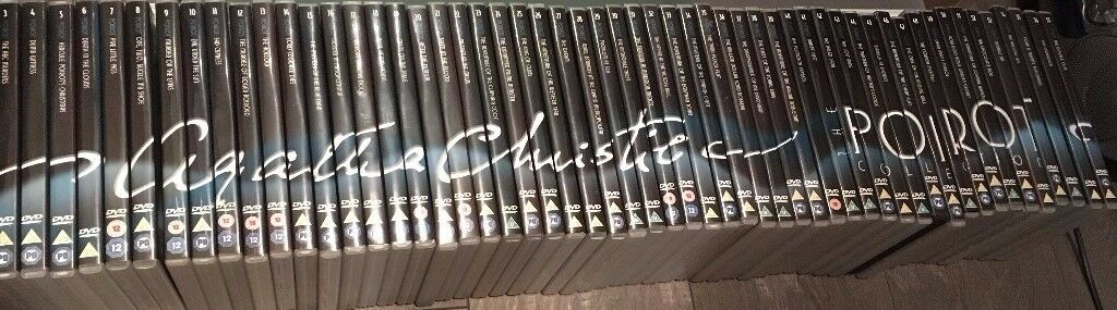 Agatha Christie Poirot DVD's and magazines 1-57 excellent condition