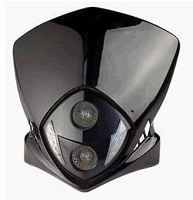tete de fourche plaque phare duke noir moto cross enduro dirt 2 x 20 w led ebay. Black Bedroom Furniture Sets. Home Design Ideas
