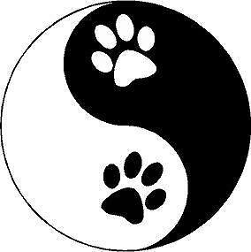 p123 Yin Yang Huellas De Perro Feng Shui Pegatina Sticker
