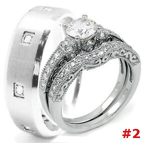 Wedding Rings Set 3 pcs Hers STERLING SILVER His Titanium or Stainless Steel new