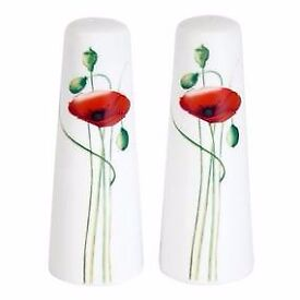 Red poppy salt and pepper shakers - Never used!