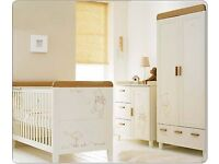 Winnie the Pooh nursery furniture set - Cot bed, changing station/dresser and wardrobe - £750 ONO