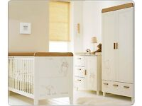 Winnie the Pooh furniture set - Cot bed, changing station/dresser, wardrobe with extras - £675