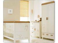 Nursery furniture set (Winnie the Pooh) - Cot bed, changing station/dresser, wardrobe & extras- £625