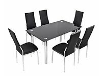 Black glass 6 seather dining table and 6 leather chairs