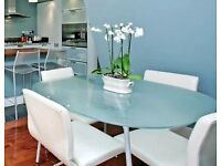 Set of 4 designer leather swivel dining or desk chairs by Frag. Or just buy 2.