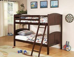 BRAND NEW - Twin Over Twin Bunk Bed in Cappuccino