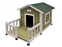 NEW & NEVER USED-Small Dog/Puppy White Kennel/Shelter/Outdoor Home with Veranda-from NOBBY range.