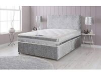 get it now brand new single double or king crush velvet bed and mattress 30% off all over uk