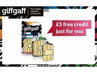 FREE ! Giff Gaff sim card
