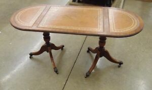 Gorgeous unique double legs antique claw foot table &leather top