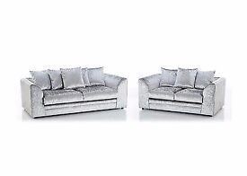 SAME DAY DELIVERY= == = BRAND NEW == DYLAN CRUSH VELVET 3 AND 2 SEATER SOFA OR CORNER SOFA ==