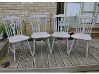 Set 4 Solid Pine French Farmhouse Kitchen Chairs in Farrow & Ball French Grey