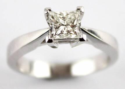 9ct White Gold Diamond Ring Size Q Women s Jewellery
