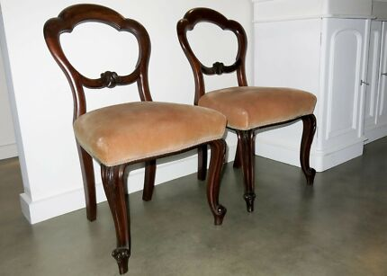 6 FRENCH PROVINCIAL DINING CHAIRS MAHOGANY BALLOON BACK